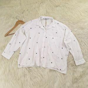 Zara Basic Pinecone White Button Down Blouse